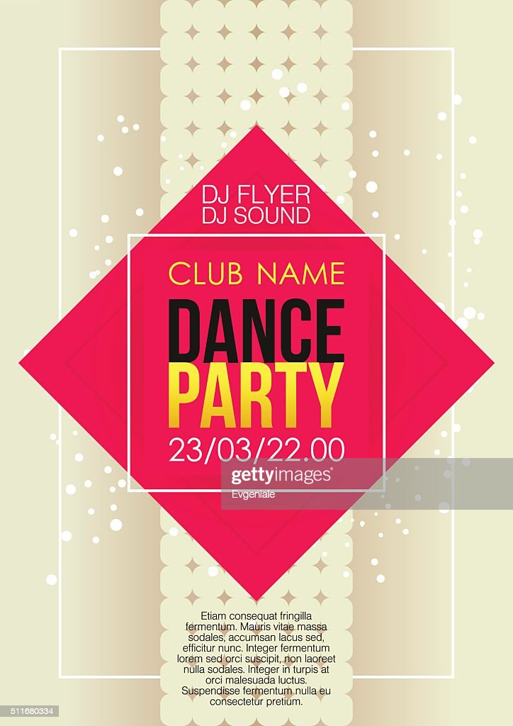 Vertical music party background with red graphic elements and text.
