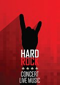 Vertical music red background with hand of rocker.