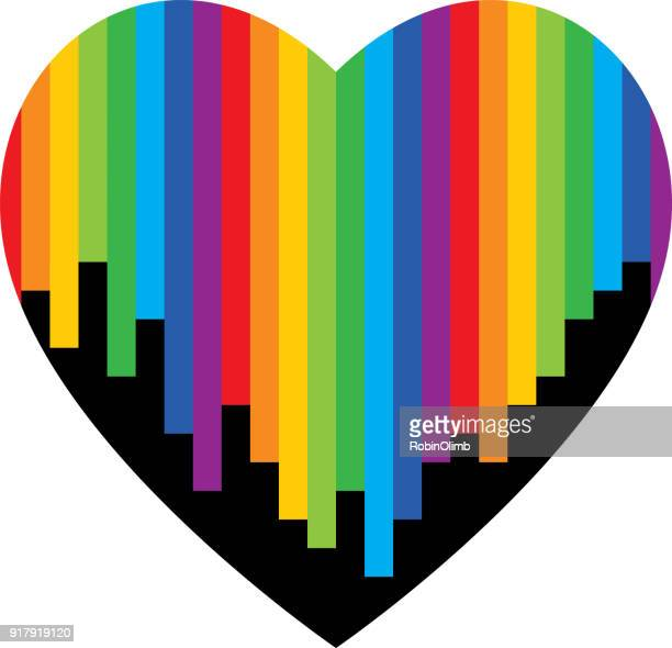 vertical rainbow striped heart - marriage equality stock illustrations, clip art, cartoons, & icons