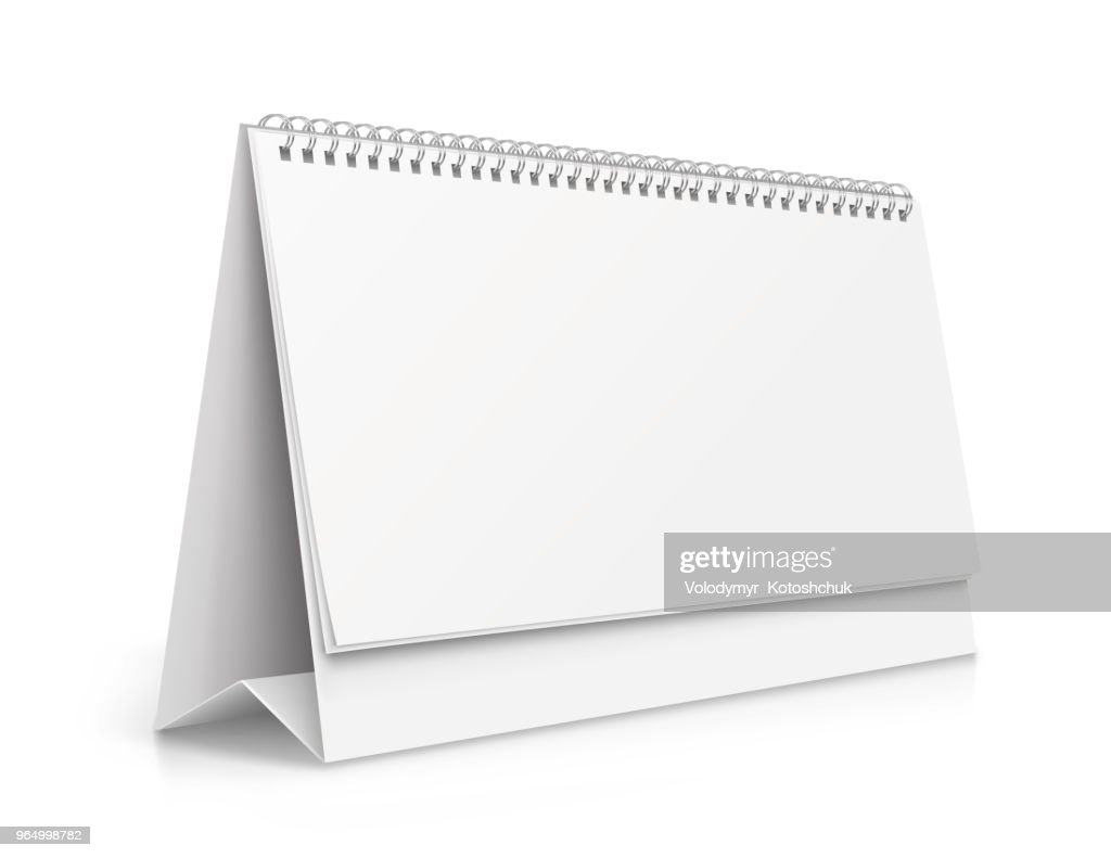 Vertical realistic paper calendar blank - stock vector.