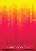 Vertical red, orange and yellow mosaic music party background.
