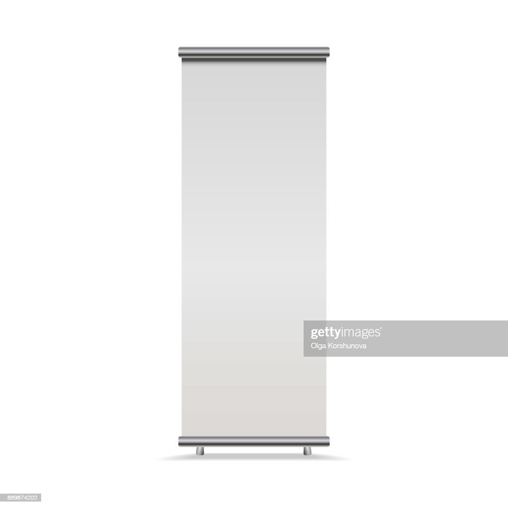 Vertical Roll-up banner isolated on white background, , front view. Vector empty show display mock up for presentation or exhibition