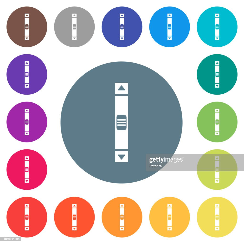Vertical scroll bar flat white icons on round color backgrounds