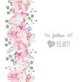 Vertical seamless line garland with camellia, rose, peony and orchid