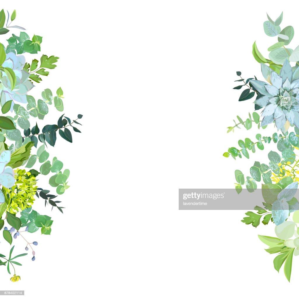 Vertical sides botanical vector design banner.