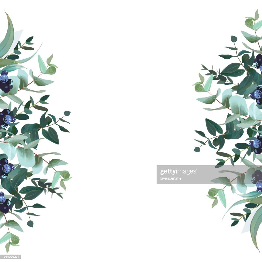 Vertical sides botanical vector design banner