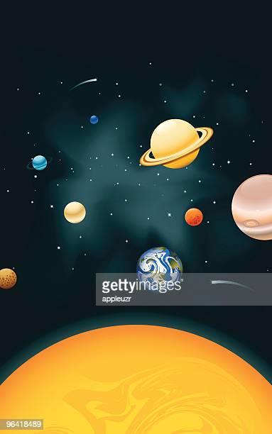 vertical solar system - solar system stock illustrations
