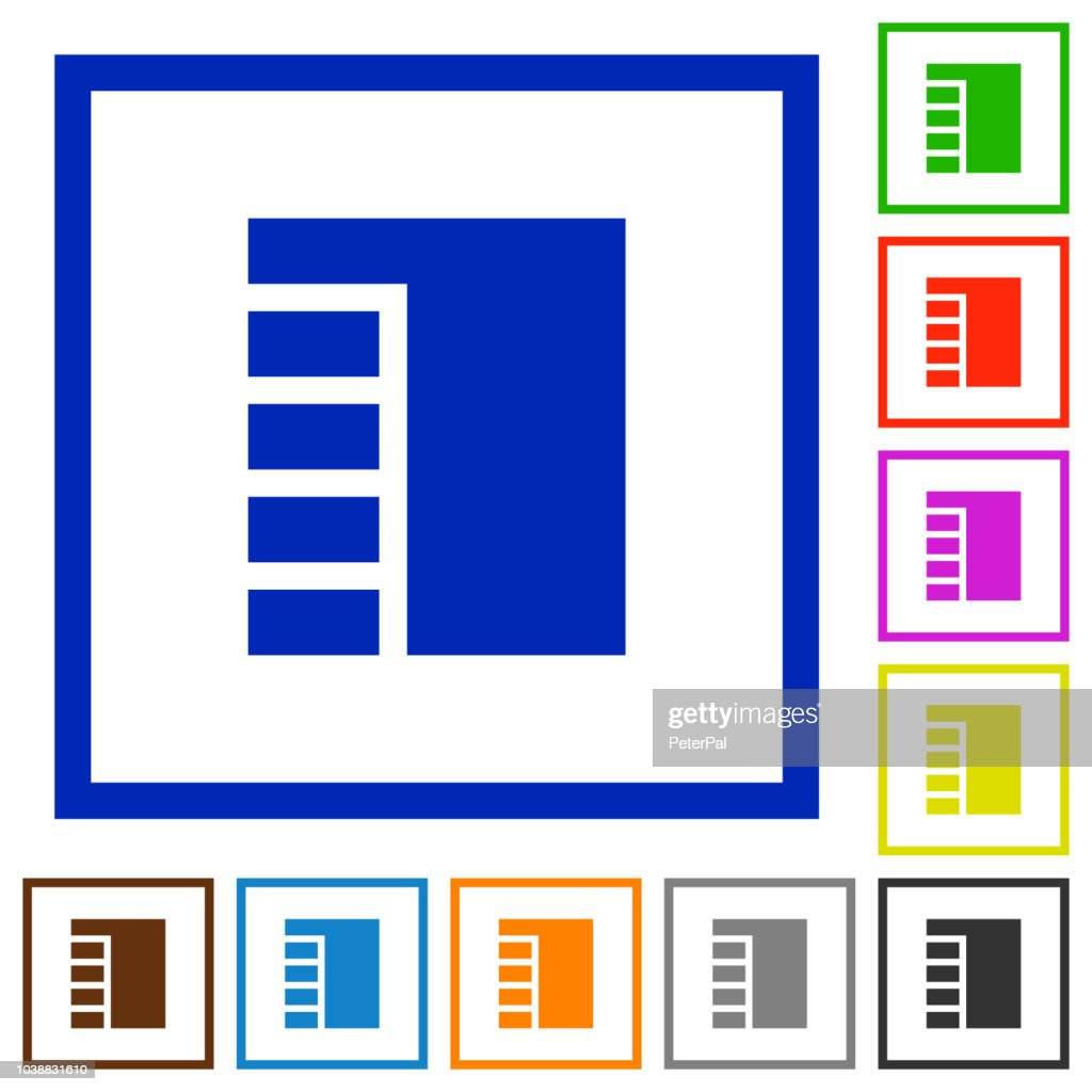 Vertical tabbed layout active flat framed icons