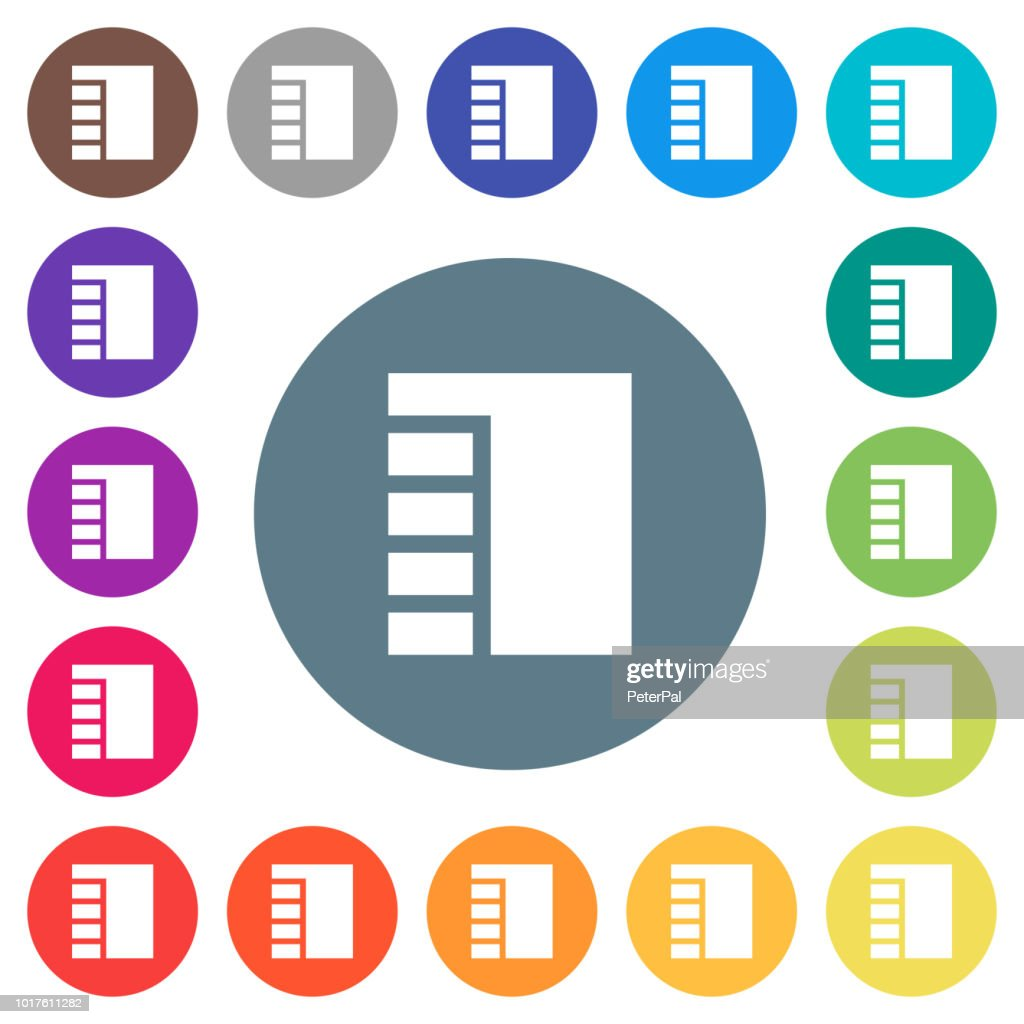 Vertical tabbed layout active flat white icons on round color backgrounds