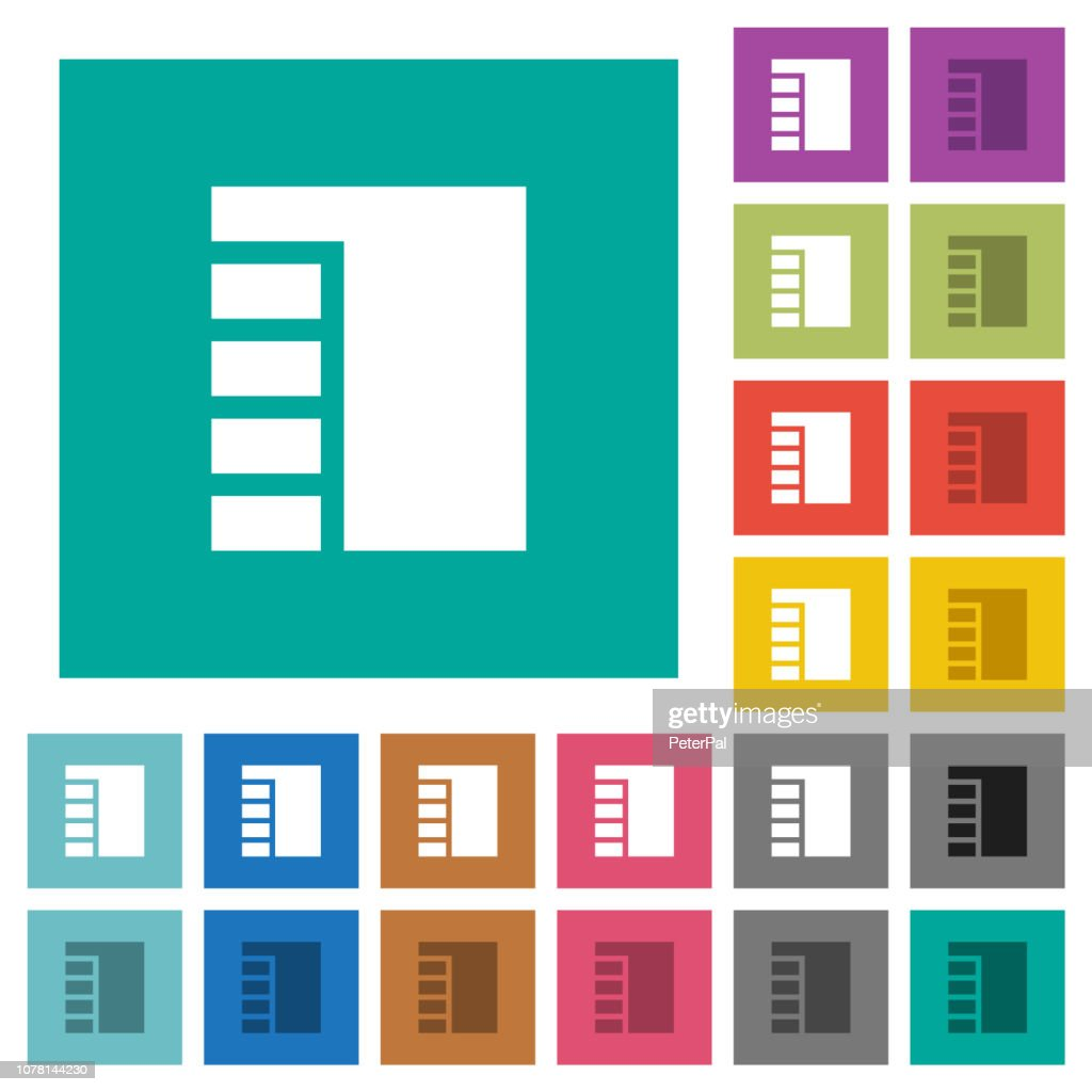 Vertical tabbed layout active square flat multi colored icons