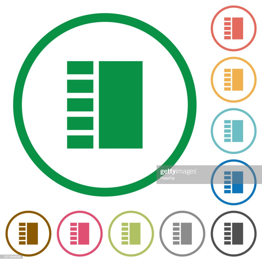 Vertical tabbed layout flat icons with outlines