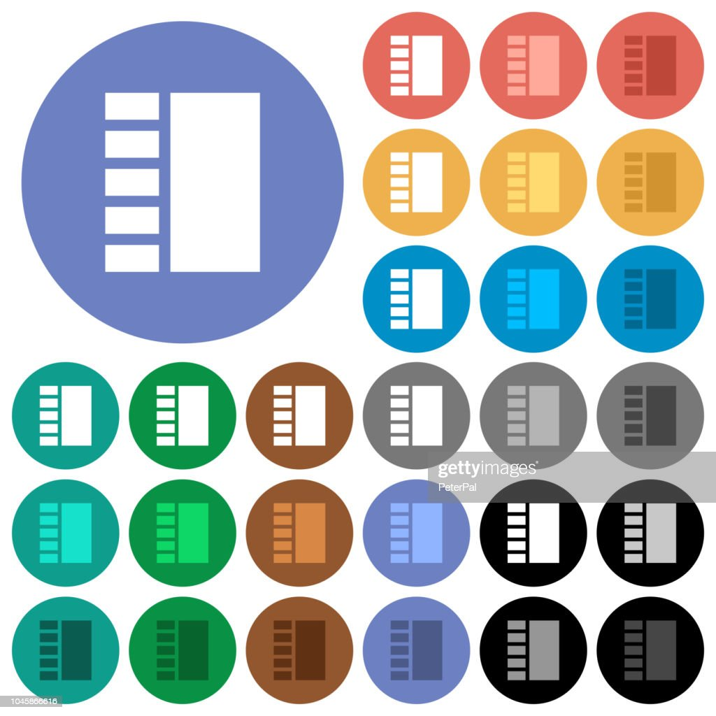 Vertical tabbed layout round flat multi colored icons