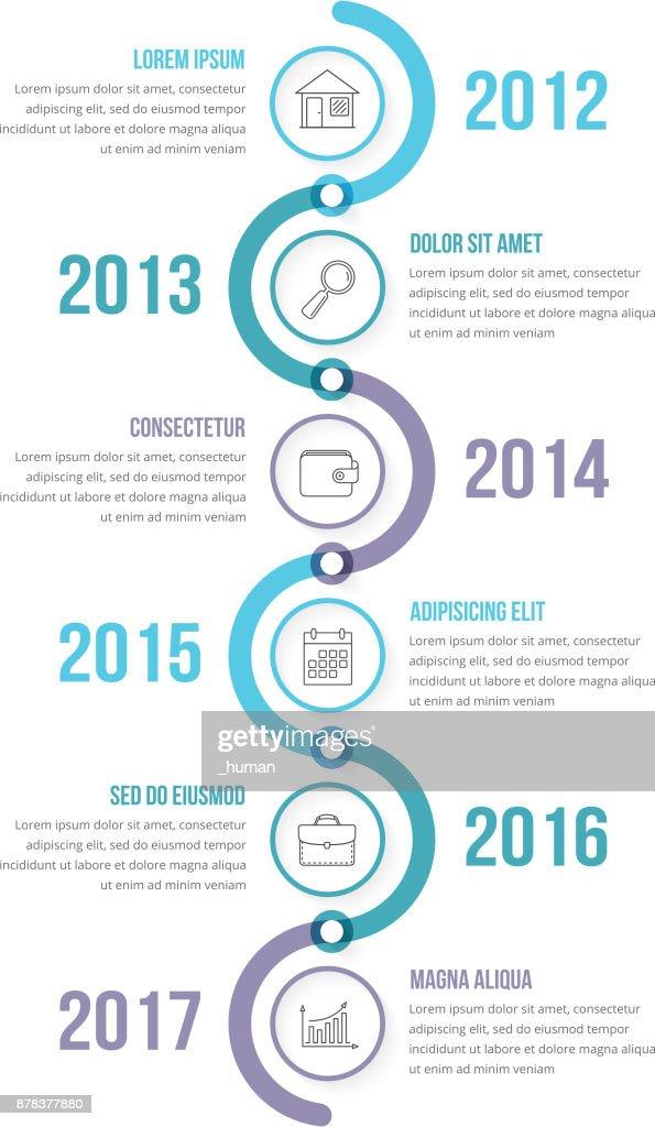 Vertikale Zeitleiste Infografiken Vorlage Vektorgrafik | Getty Images