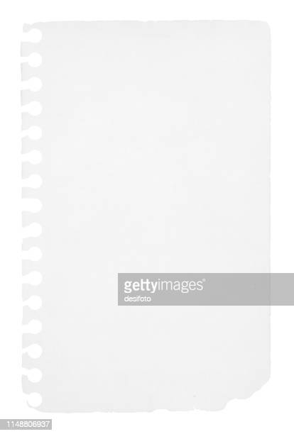 a vertical vector illustration of a blank white colored ripped page from a spiral notepad - papyrus paper stock illustrations