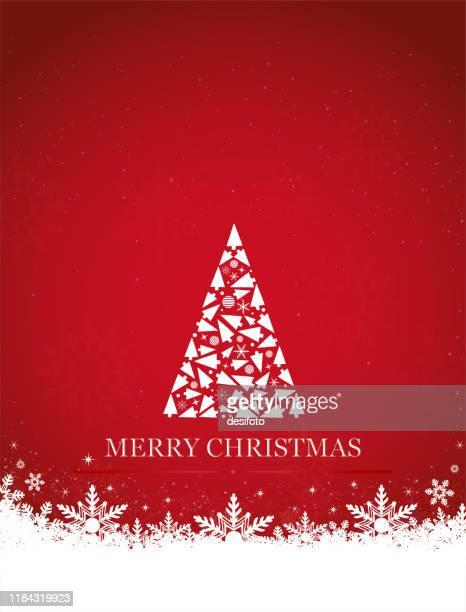 xmasの装飾品で作られた1つの創造的な三角形の形の白いクリスマスツリーを持つ創造的な明るい赤色の背景の垂直ベクトル図 - 縦位置点のイラスト素材/クリップアート素材/マンガ素材/アイコン素材