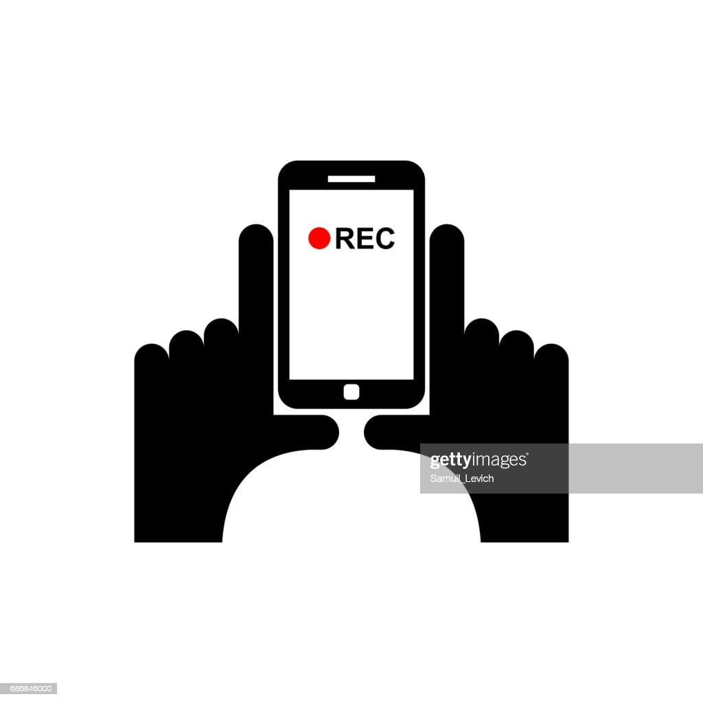 Vertical video sign. Hand and smartphone Record
