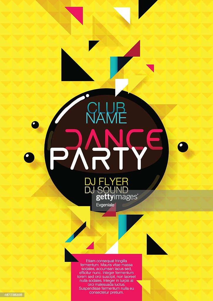Vertical yellow music party background with colorful graphic elements.