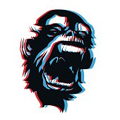 Very angry monkey face