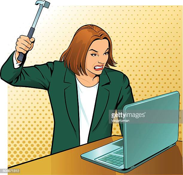 very angry office worker - anger stock illustrations