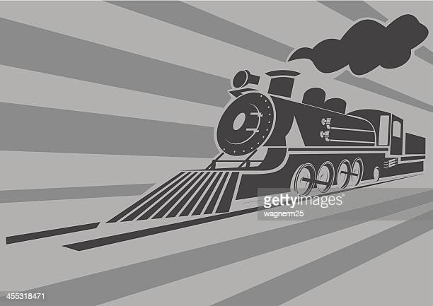 very fast old steam train - steam train stock illustrations