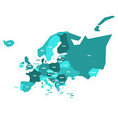 Very simplified infographical political map of Europe in green color scheme. Simple geometric vector illustration