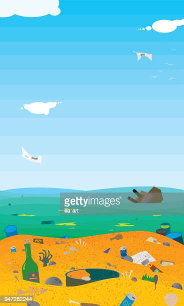 very very dirty beach - water pollution stock illustrations