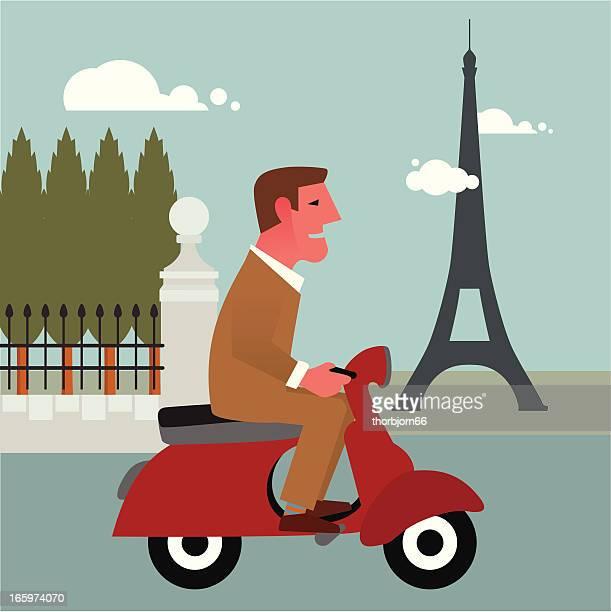 vespa in paris - vespa stock illustrations, clip art, cartoons, & icons