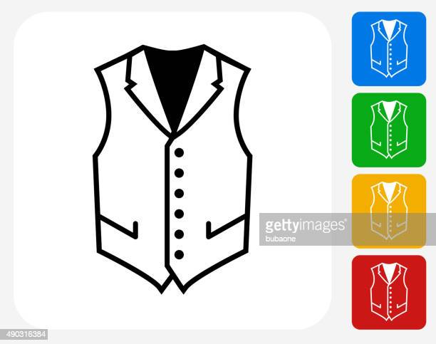 vest icon flat graphic design - waistcoat stock illustrations, clip art, cartoons, & icons
