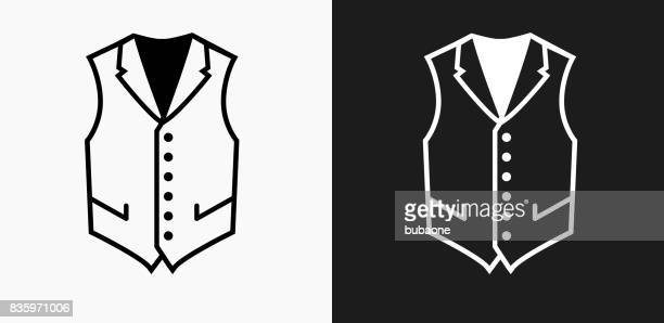 vest icon on black and white vector backgrounds - waistcoat stock illustrations, clip art, cartoons, & icons