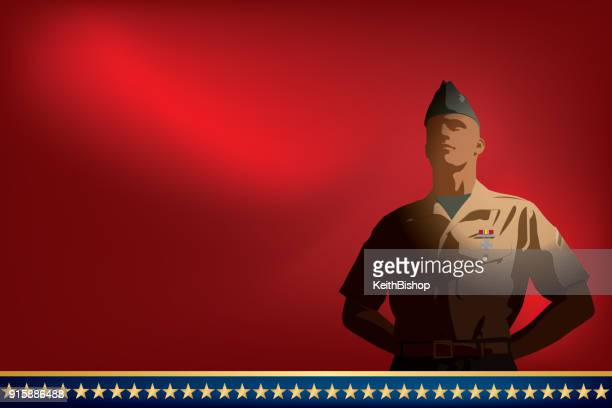 veteran, us soldier at ease background - military personnel stock illustrations, clip art, cartoons, & icons