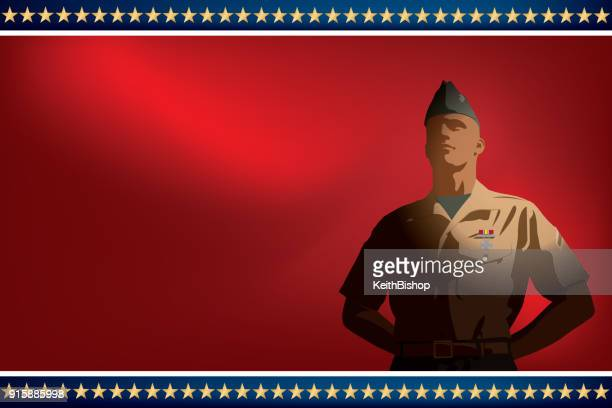 Veteran, US Soldier Standing at Ease Background