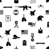 Veterans Day icons in black on a white background