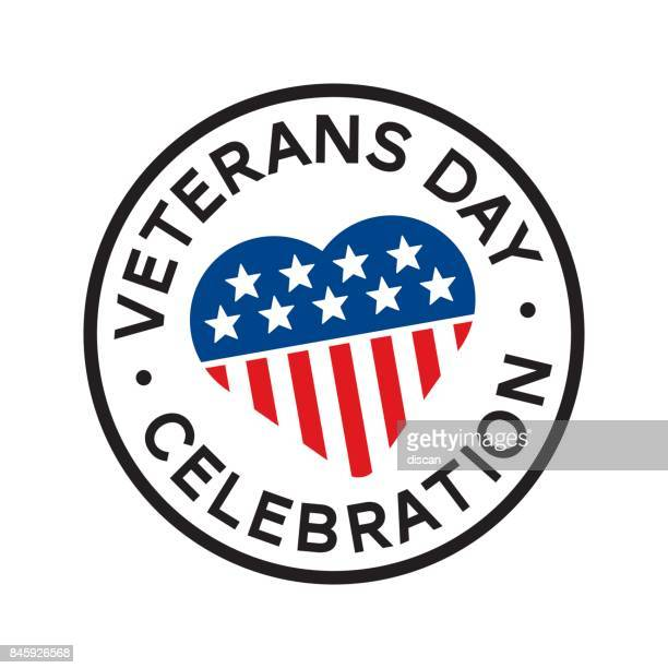 veterans day round stamp - us military emblems stock illustrations
