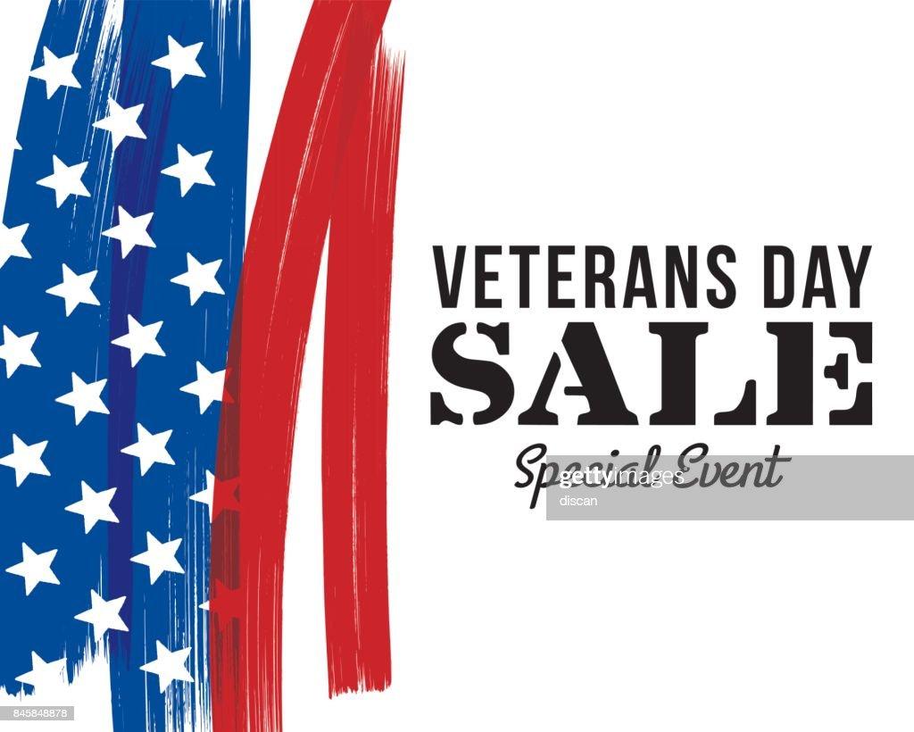 Veterans Day sale banner : stock illustration