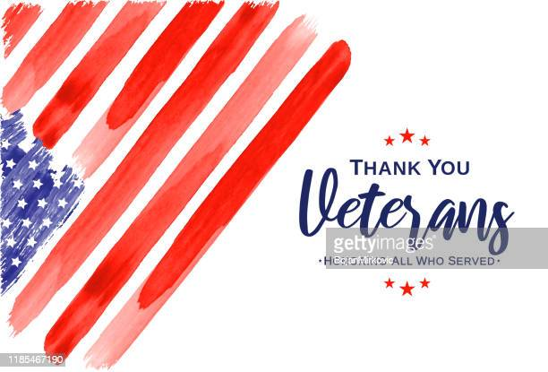 veterans day. thank you veterans. watercolor usa flag. vector - veterans day stock illustrations, clip art, cartoons, & icons