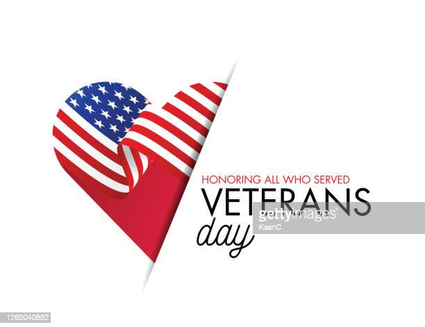 veterans day vector illustration, honoring all who served, usa flag waving on blue background. stock illustration - respect stock illustrations