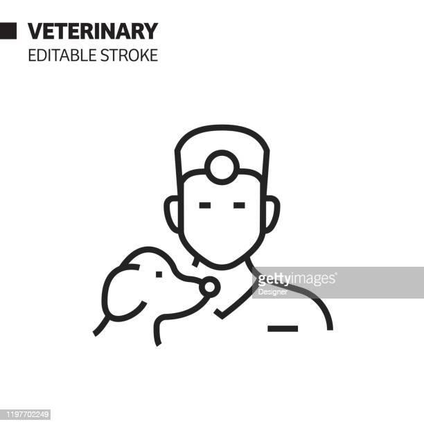 illustrazioni stock, clip art, cartoni animati e icone di tendenza di icona della linea avatar veterinaria, illustrazione del simbolo vettoriale del contorno. pixel perfetto, tratto modificabile. - testa di animale