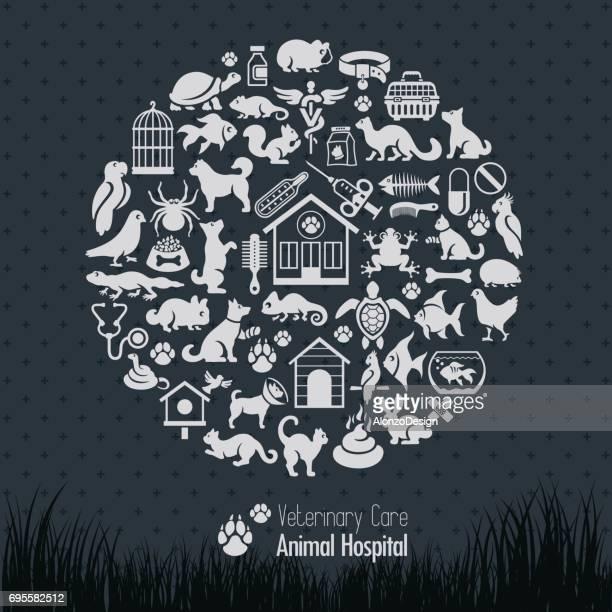 veterinary collage - veterinarian stock illustrations, clip art, cartoons, & icons