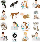 Veterinary icon flat set.  Vet clinic, pets and doctor