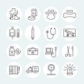 Veterinary Line Icons Set