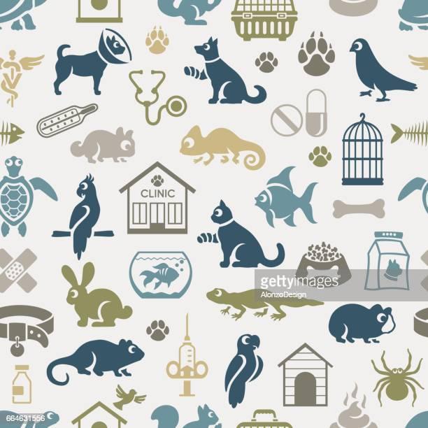 veterinary pattern - veterinarian stock illustrations, clip art, cartoons, & icons