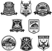 Vetor badges for hunter club or hunting adventure