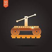 Vetor color flat trolley icon. Epsgold0