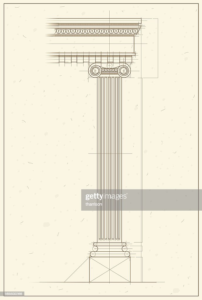 Vetor Greek Column Blueprint
