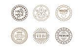 Vetor set of original logo templates for handmade goods. Branding identity. Creative linear emblems