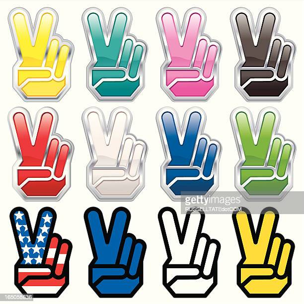 v-fingers - symbols of peace stock illustrations