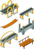 Viaduct bridge isometric. Wood support crossing river or highway logging industry vector urban landscape