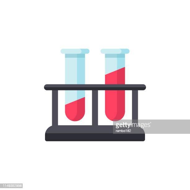 血液の平らなアイコンでバイアル。ピクセルパーフェクト。モバイルと web 用。 - 血液点のイラスト素材/クリップアート素材/マンガ素材/アイコン素材