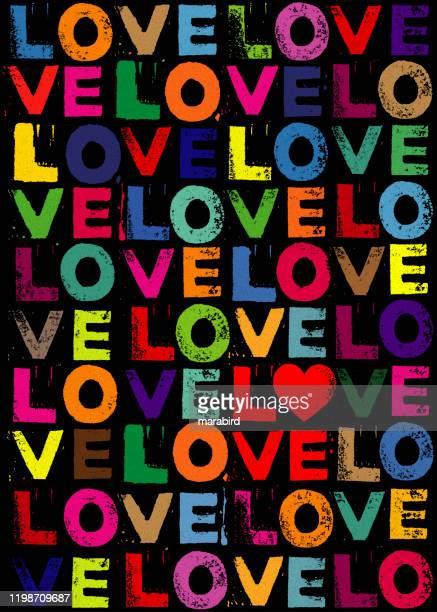 vibrant color love print valentine postcard - love letter stock illustrations