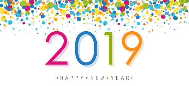 Vibrant Confetti 2019 Greeting Placed On Transparent Background - gettyimageskorea